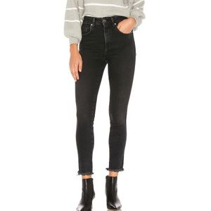 Free People High Rise Raw Jegging in Black